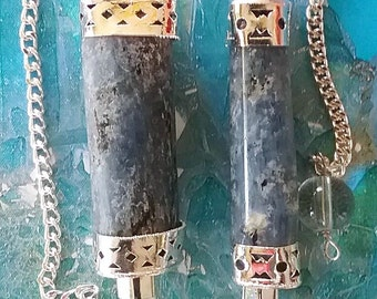2 Blue KYANITE Dowsing PENDULUM Divination Wands With Six Sided Crystal Quartz Point,  Chains and Storage Pouches