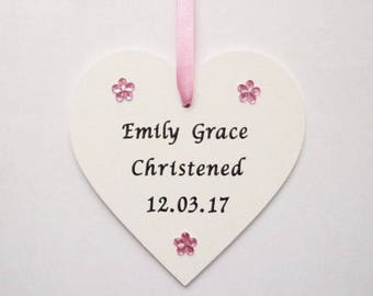 Personalised Christening baptism gift, Baby girls boys christening baptism gift, gift for godchild, wooden heart, plaque, keepsake