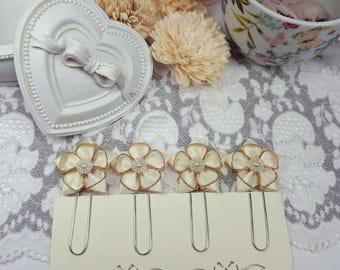 Flower Planner Clips, Ivory Page Clips, Satin Ribbon Planner Dividers, Ivory Bookmarks, Flower Page Clips, Office Accessories, Ribbon Clips
