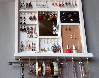 Jewelry display with mirror. earrings holder. necklace holder. WHITE display with shelf.  wall mounted jewelry organizer. earrings storage.
