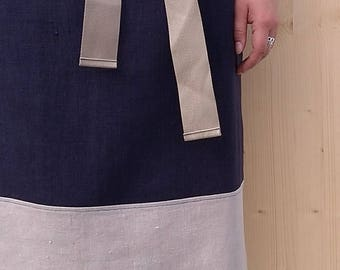 kitchen apron in Navy Blue and natural linen