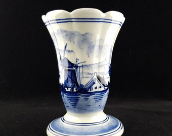 """Delft Blue and White Porcelain Vase,Windmill Design, 4"""" Tall, Ons Ideaal, Holland"""