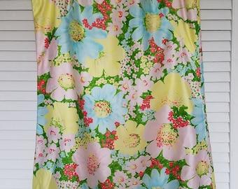 1960's DAVID CRYSTAL Sleeveless Shift Dress Spring Floral, Side Bows, Large