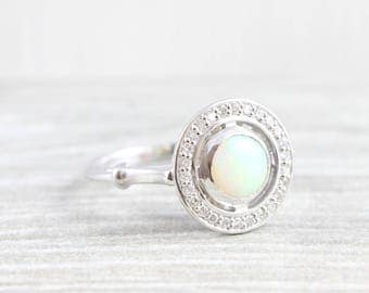 Opal and diamond halo engagement ring in gold/platinum Edwardian inspired floating unique handmade for her