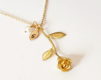 Rose Necklace, rose flower leaf, Anniversary Gift, Personalized Bridesmaid gift, Initial Necklace, Valentine Gift,Lovely Flower, Lovers gift