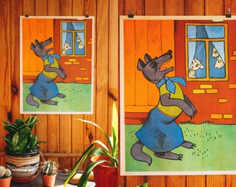 "Large Soviet WOLF Poster / Original 80's ""The Wolf and the Seven Young Goats"" USSR Vintage Nursery Print, Grimm Brothers Folk Tale"