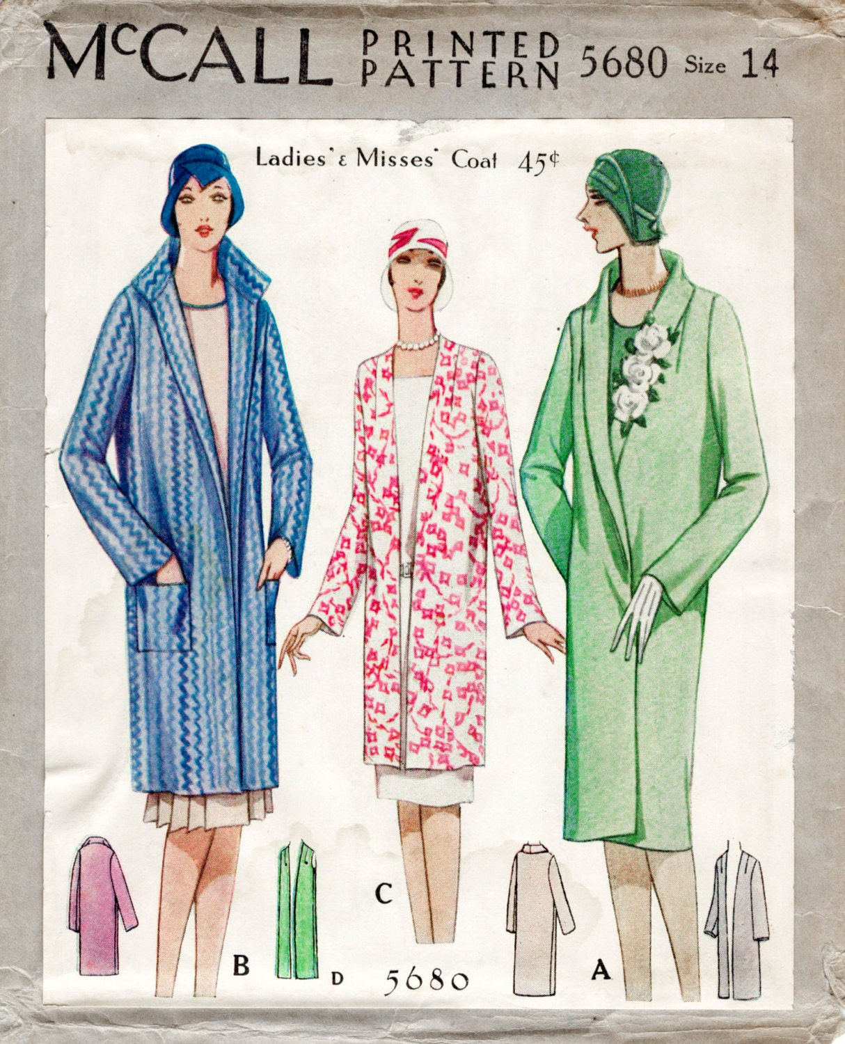 1920s 20s vintage sewing pattern flapper coat shawl or pointed