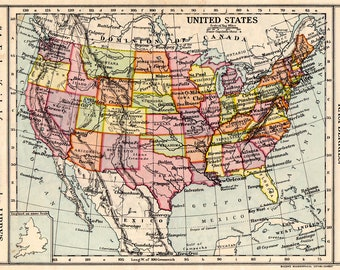 United States of AMERICA Vintage MAP 1930