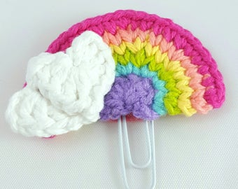 rainbow planner clip planner accessories crochet rainbow paper clip cute office accessories decor