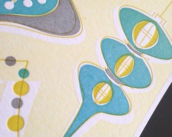 Letterpress Christmas Holiday Cards Vintage Ornaments blue/green