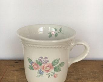 Vintage 1980s Pfaltzgraff Flat Cup / Mug in the Rosalinda Pattern 1983-1985 Five (5) Mugs Available