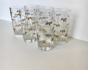 Vintage Drinking Glasses Tumblers with Gold and Silver Eagle Wings & White Stars and Stripes, patriotic, aviation decor, vintage barware