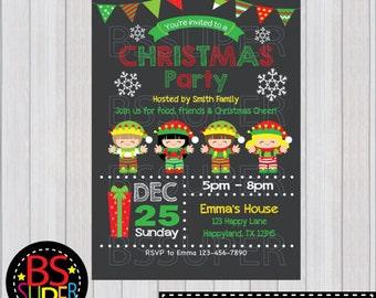 CHRISTMAS PARTY Invitation, Christmas invitations, Holiday Party Invitations, Elf invitation