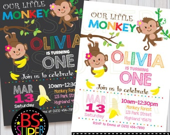 Monkey Birthday Invitation , Monkey Birthday Party , Monkey Invitation, Monkey party invite