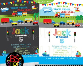 Transportation Birthday Invitation, Transportation Invitation, Car, Truck, Plane, Train, Ship Birthday Party invite