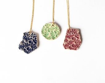 Intricate GEOMETRIC MODERN ceramic NECKLACE, Ceramic jewellery, Geometric pendant, Statement jewellery,Christmas gift for her,Red,Blue,Green