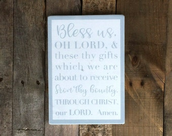 Bless Us Oh Lord Dinner Prayer - Meal Prayer Hand Painted Wooden Sign