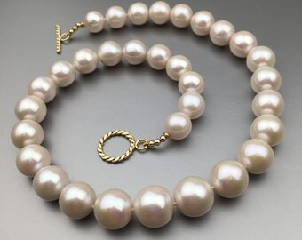 SOLD! Custom Order available. Gorgeous White Freshwater Pearl Necklace, individually hand-knotted, gold filled toggle. LUXE, Bridal And Beyo