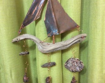 Copper & driftwood sailboat