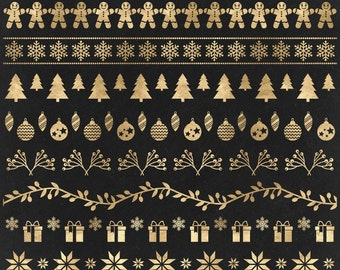 Christmas Clip Art, Gold Borders clipart, Ribbons, Text dividers, Winter, Xmas ornaments, Reindeer, snowflakes - Commercial Use