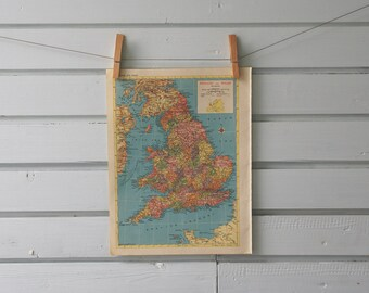 1955 Vintage England & Wales Map