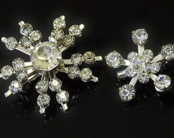 Vintage Brooches Pair of Petite Star Burst Shapes Clear Sparkling Rhinestones Silver Tone Twinkling Pretty and Tiny Perfect Lapel Pieces