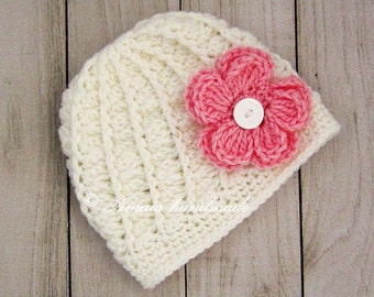 Baby flower hat, Crochet flower hat, Baby flower beanie, Crochet baby hat, Baby girl hat for Newborn to 12 Months, Made to order