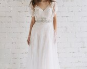 Wedding Dress , Lace Dress, Bridal Dress , Bohemian Wedding Dress , Ivory Gown,  Nude Wedding Dress, Open Back Dress , Swarovski   - EVA