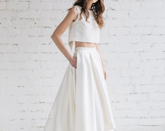 Wedding Dress, Bridal Separates ,Two Piece Wedding  Dress ,Bridal Crop Top Dress  , Wedding Dress with Train, High Low  Skirt, Ivory   -LILY