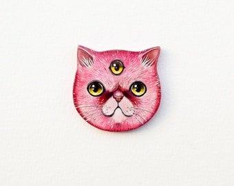 Three eyed pink cat brooch - alien kitten illustrated pin - wooden handmade brooch