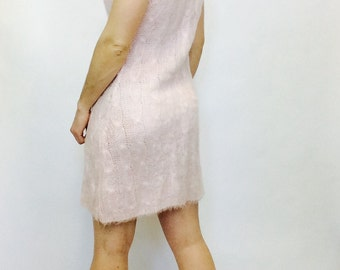 Vintage sweater dress vintage wool dress pink wool cableknit dress wool mohair cableknit dress mohair dress pink dress 90s pink mohair dress