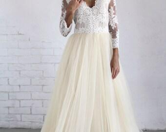 Champagne wedding dress, Champagne Bridesmaid dress, Tulle wedding dress, Ivory wedding dress, Long sleeves wedding dress, 0051 // 2016