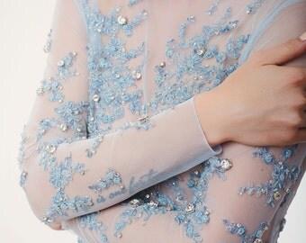 Blue wedding dress, blue gown, Blue wedding gown, Blue bridesmaid dress, Wedding dress, Crystal wedding dress, Custom, 0056 // 2016
