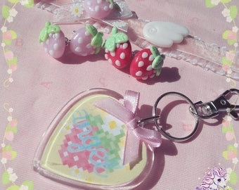 Strawberry angel earrings and keychain yumekawaii
