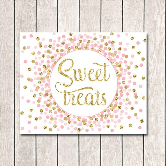 Table Sign Sweet Treats Sign Printable Favor Sign Pink Gold