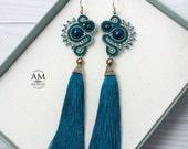 Boho Tassel Earrings Long Soutache Dangle Silk Jewelry Blue Fringe Beaded Earrings Gift For her