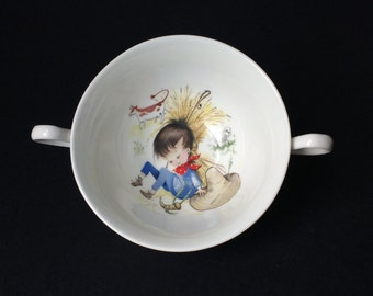 Nursery rhyme bowl, Little Boy Blue, vintage, rare, possibly USA Pickard China, Ravenswood range, 2 handles, 1960s