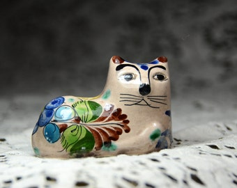 Vintage Mexican Folk Art Cat. Mexican Folk Art. Tonala Mexico Pottery. Mexican Cat. Southwestern Art. Hand Painted Cat. #161111
