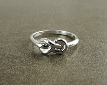 Infinity Knot Ring, Sterling Silver, Stop Nautical Double Knot Ring, Eternity Jewlry, Eternal Ring, Promise Ring, Bridesmaid Friendship Gift