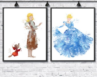 Princess Cinderella Watercolor Poster, Cinderella Before and After Prom, Disney Poster, Baby Girl, Wall Art, Kids Room Decor, Nursery Decor