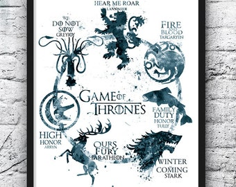 Game of Thrones Watercolor Print, Game of Thrones Art, Movie Poster,House Targaryen Stark Lannister, Wall Art, Home Decor, Gray - 496-1
