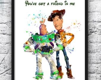 Toy Story Art Print, Buzz and Woody Poster, Disney Art, Watercolor, Pixar, Illustration, Wall Art, Home Decor, Nursery Art - 677-2