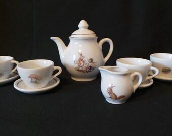 SALE Vintage Beatrix Potter Peter Rabbit Alice In Wonderland Fantasy Child's Toy China Tea Set