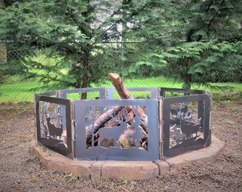 Beautiful Elk Family, Wildlife Fire Pit | Portable Fire Pit | Outdoor Fire  Pit |