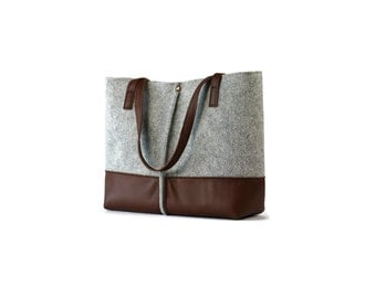 FREE SHIPPING,Leather tote bag, handmade bag,felt bag,felt & leather shoulder bag, tote, large tote bag, felt tote bag