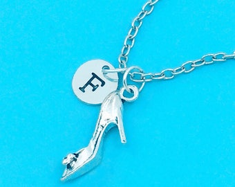 high-heeled shoe necklace, high heel charm necklace, personalized necklace, custom charm pendant, initial necklace, high heels pendant chain
