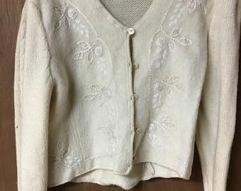 Cardigan sweater vintage hand embroidered shetland wool