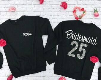 Bridesmaid Sweatshirt with number. Bridal Party Shirt. Wedding Top. Bachelorette Party Sweatshirt.