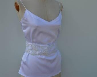 Clearance - 29% satin beaded white lace, embroidered, white belt belt wedding belt