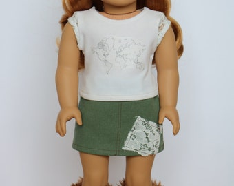 Army Green Khaki and Lace Skirt - 18 Inch Doll Clothes
